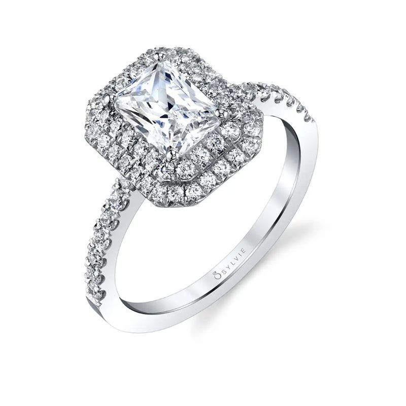Emerald Cut Double Halo Engagement Ring - Claudia