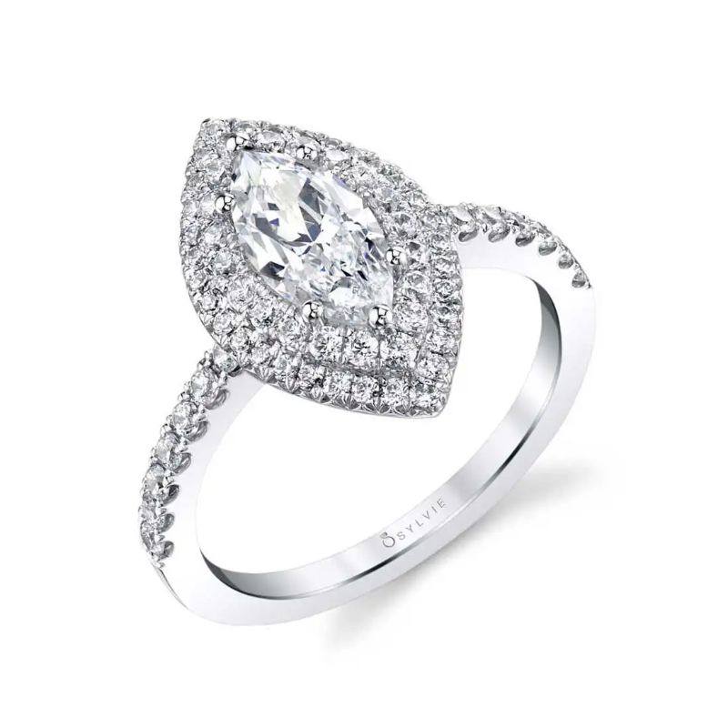 Marquise Double Halo Engagement Ring - Claudia