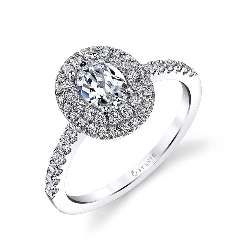Oval Shaped Double Halo Engagement Ring - Claudia