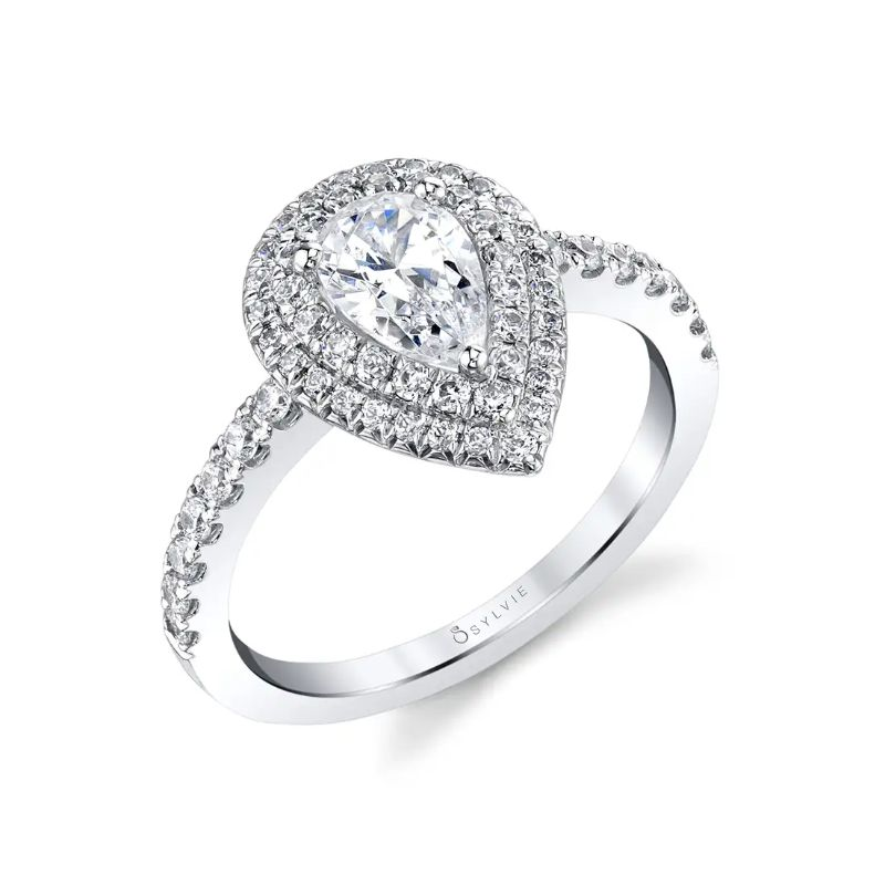 Pear Cut Double Halo Engagement Ring - Claudia