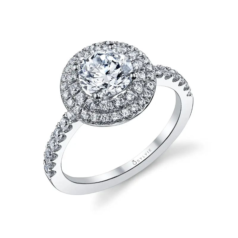 Double Halo Engagement Ring - Claudia