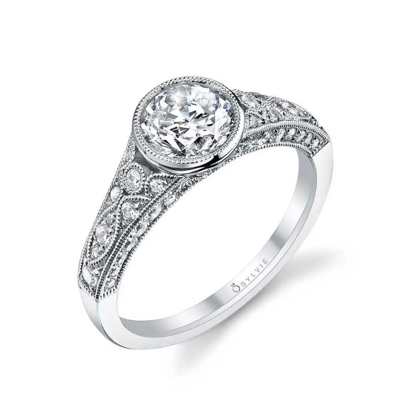 Vintage Bezel Set Engagement Ring - Barbara
