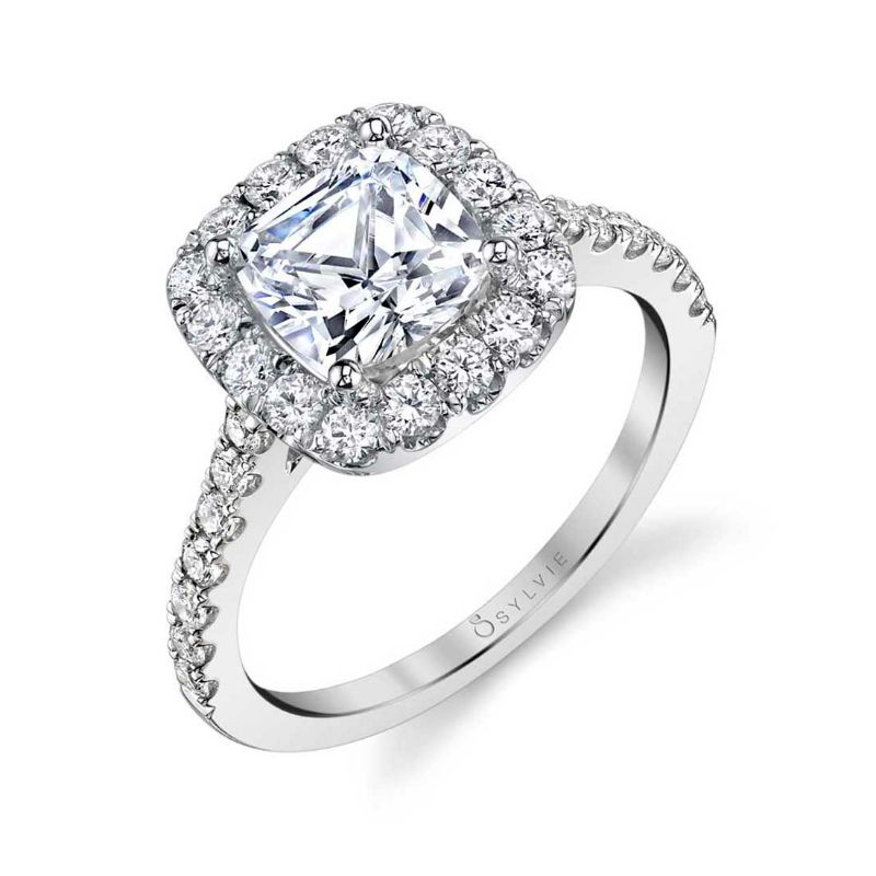 Cushion Cut Engagement Ring With Halo - Jacalyn