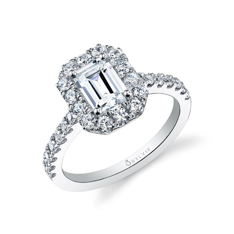 Emerald Cut Engagement Ring With Halo - Jacalyn