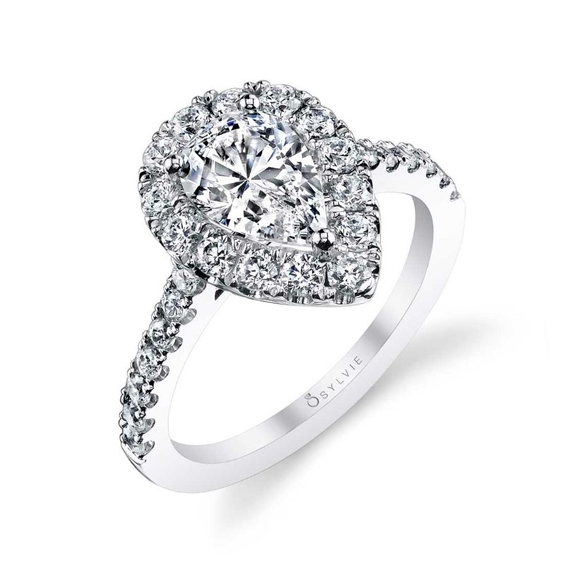 Pear Shaped Engagement Ring With Halo - Jacalyn