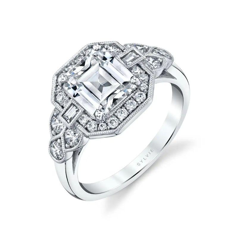 Vintage Inspired Engagement Ring With Baguette Diamonds - Francesca