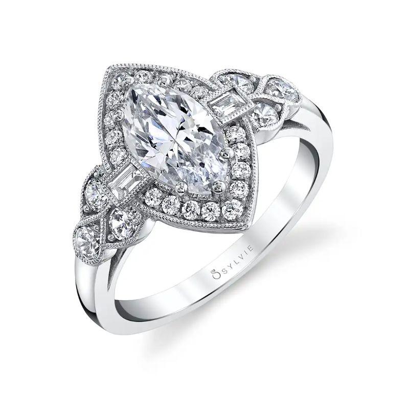 Marquise Vintage Engagement Ring With Baguette Diamonds - Francesca