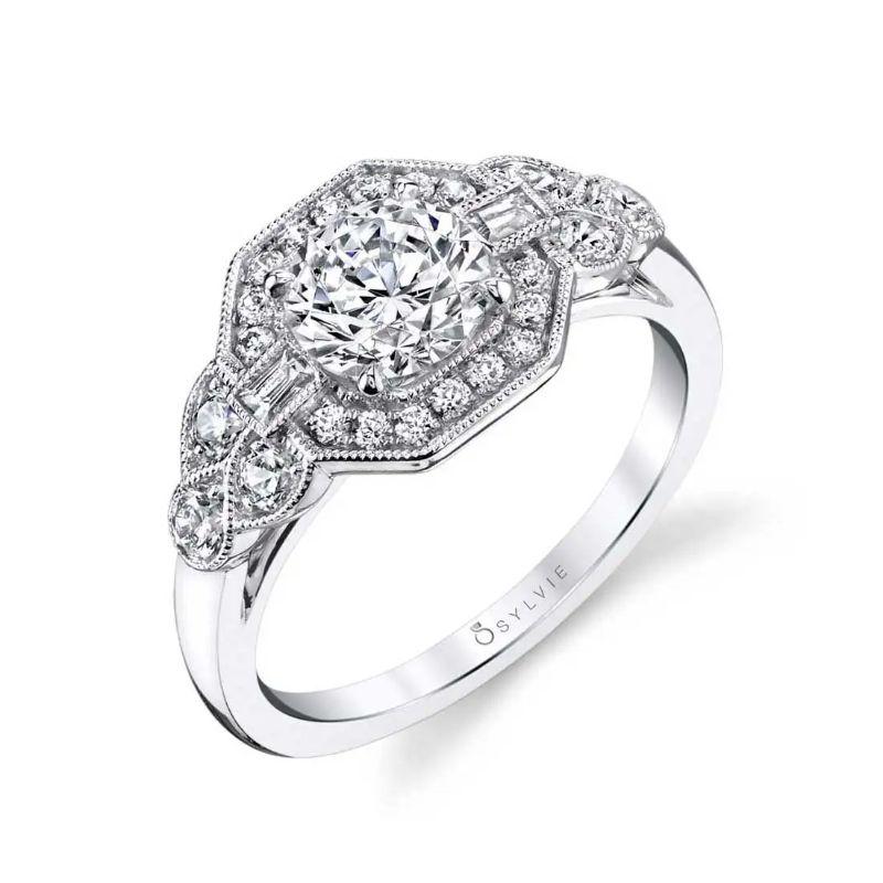 Vintage Engagement Ring With Baguette Diamonds - Francesca