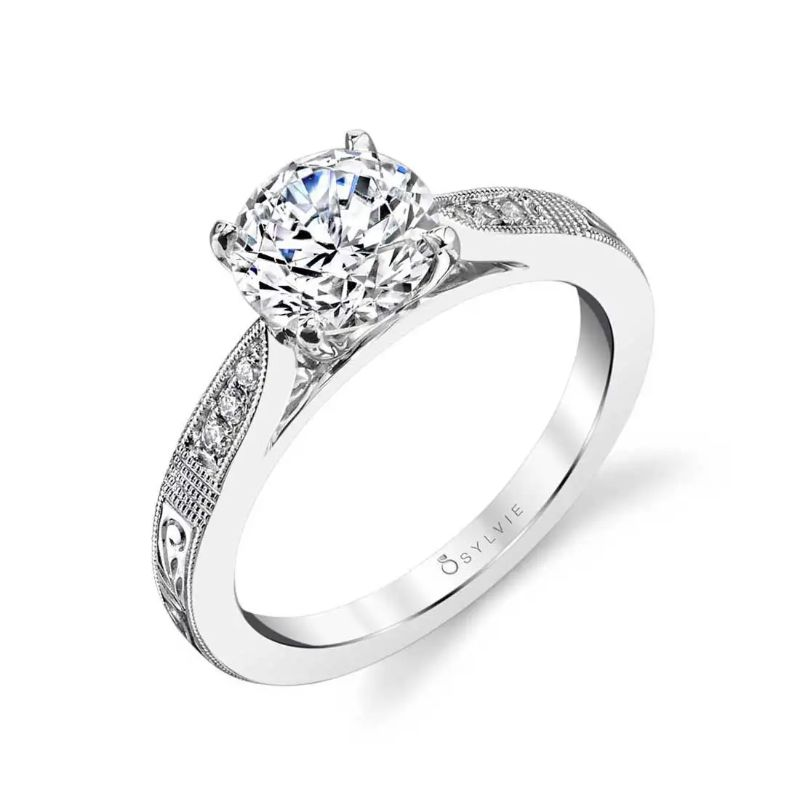 Hand Engraved Classic Engagement Ring - Holly