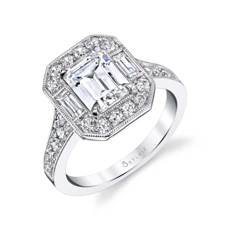 Vintage Inspired Emerald Cut Engagement Ring With Baguettes - Cassie