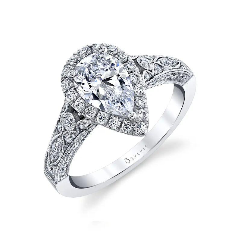 Vintage Engagement Ring With Cushion Halo - Cheri