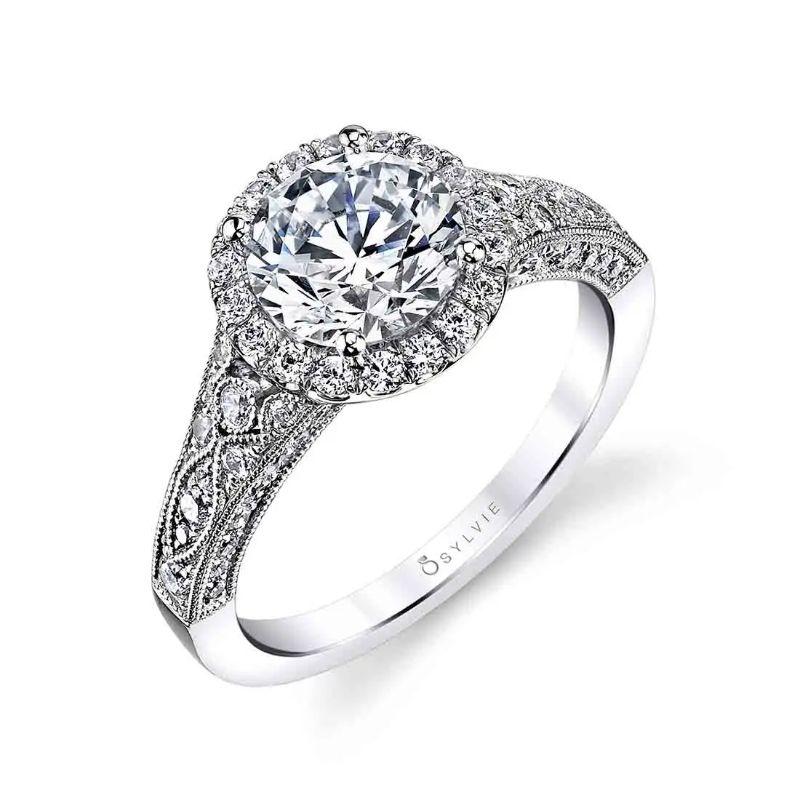 Vintage Inspired Halo Engagement Ring - Cheri