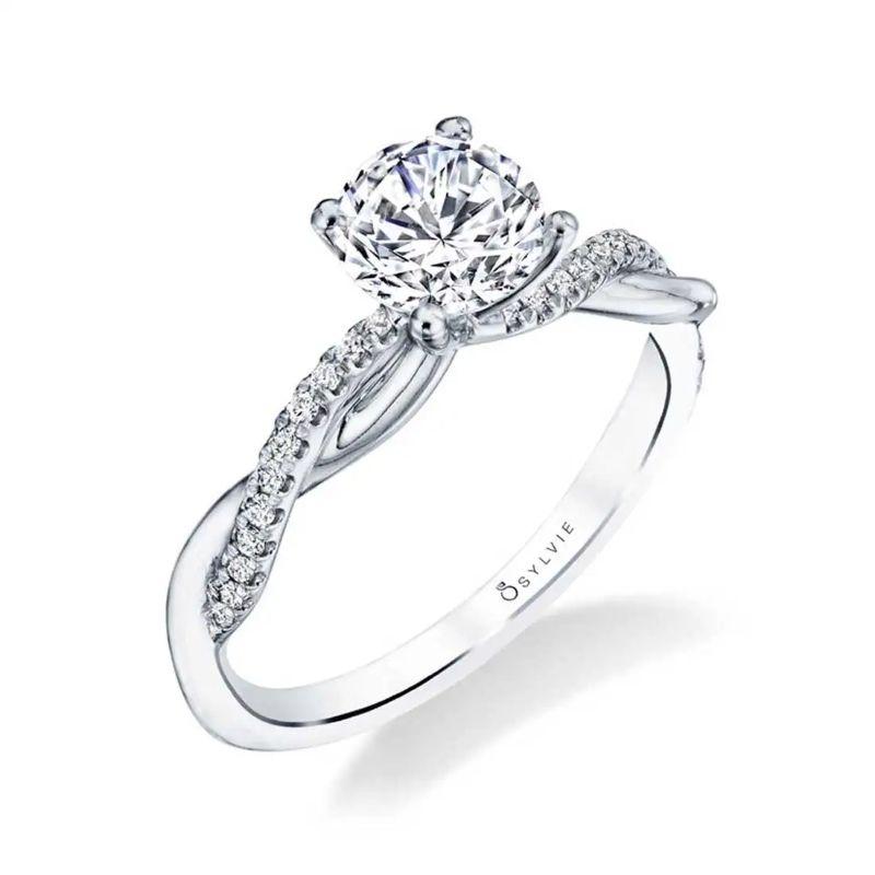 High Polish Spiral Engagement Ring - Yasmine