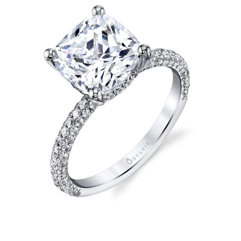 Cushion Cut Engagement Ring With Pave Diamonds - Jayla