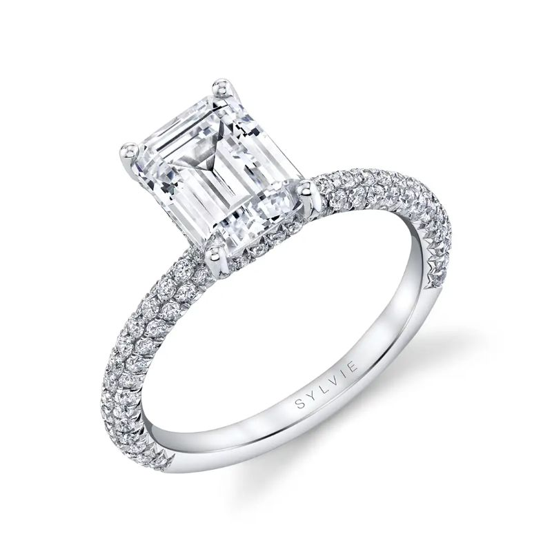 Emerald Cut Engagement Ring With Pave Diamonds - Jayla