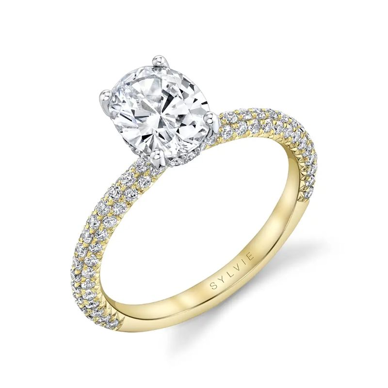 Two Tone Oval Engagement Ring - Jayla