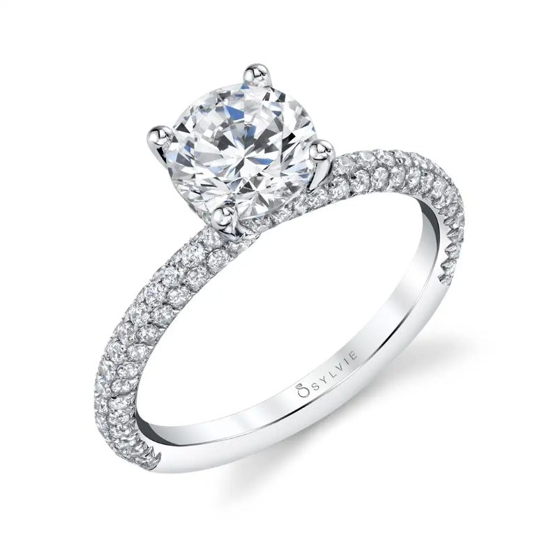 Classic Engagement Ring With Pave Diamonds - Jayla