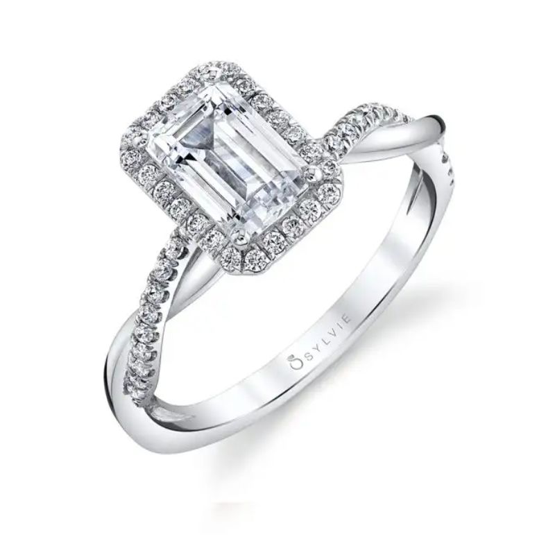 Modern Emerald Cut Engagement Ring With Halo - Coralie