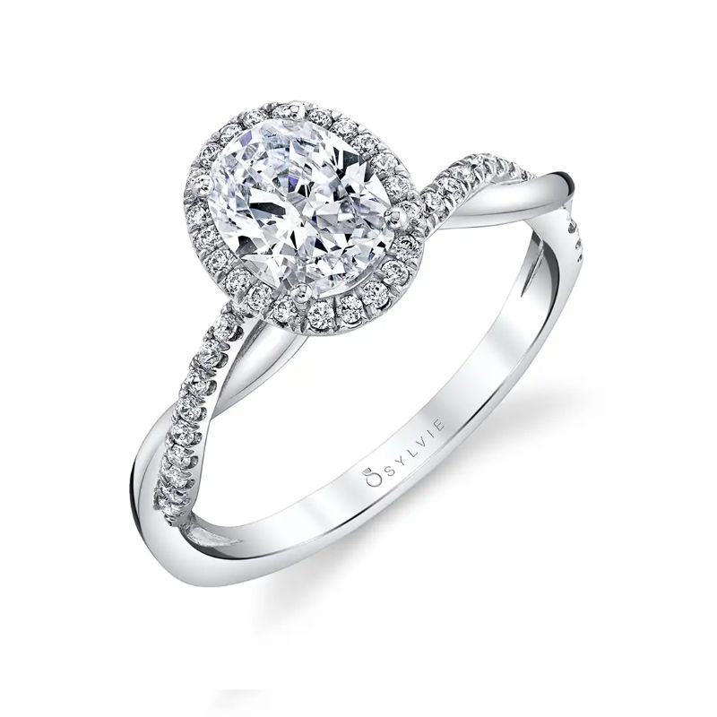 Modern Oval Engagement Ring With Halo - Coralie