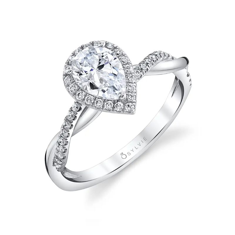 Modern Pear Shaped Engagement Ring With Halo - Coralie
