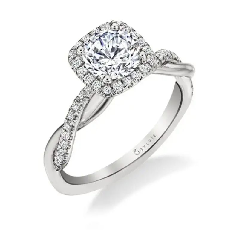 Spiral Engagement Ring With Cushion Halo - Coralie