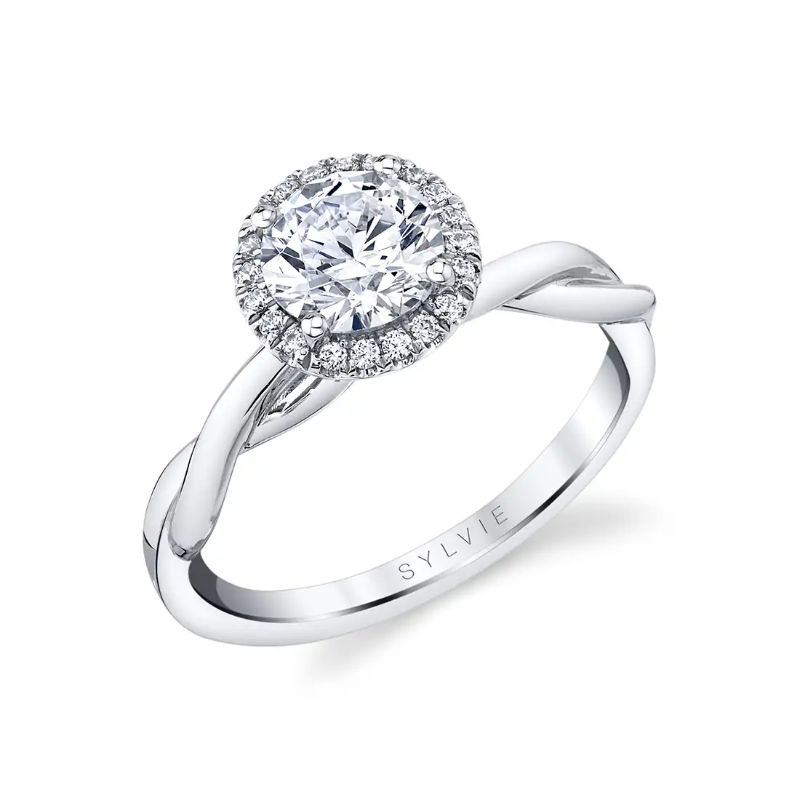 Modern Spiral Engagement Ring With Halo - Coralie