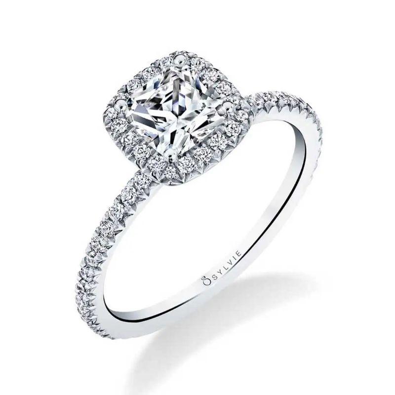 Classic Cushion Halo Engagement Ring - Vivian