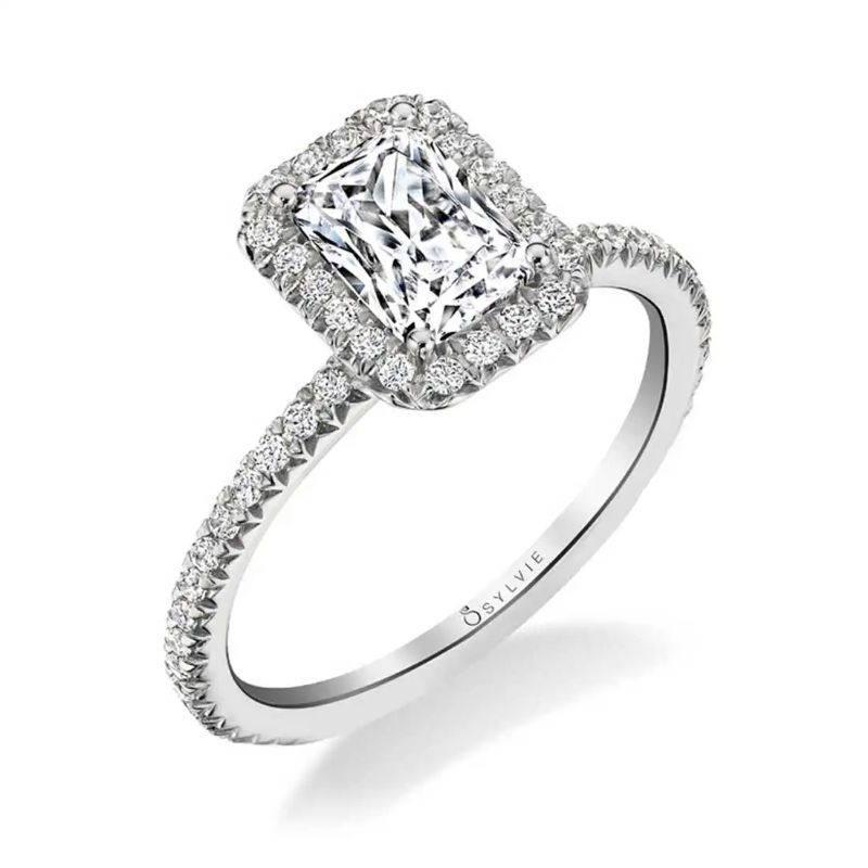 Emerald Cut Halo Engagement Ring - Vivian