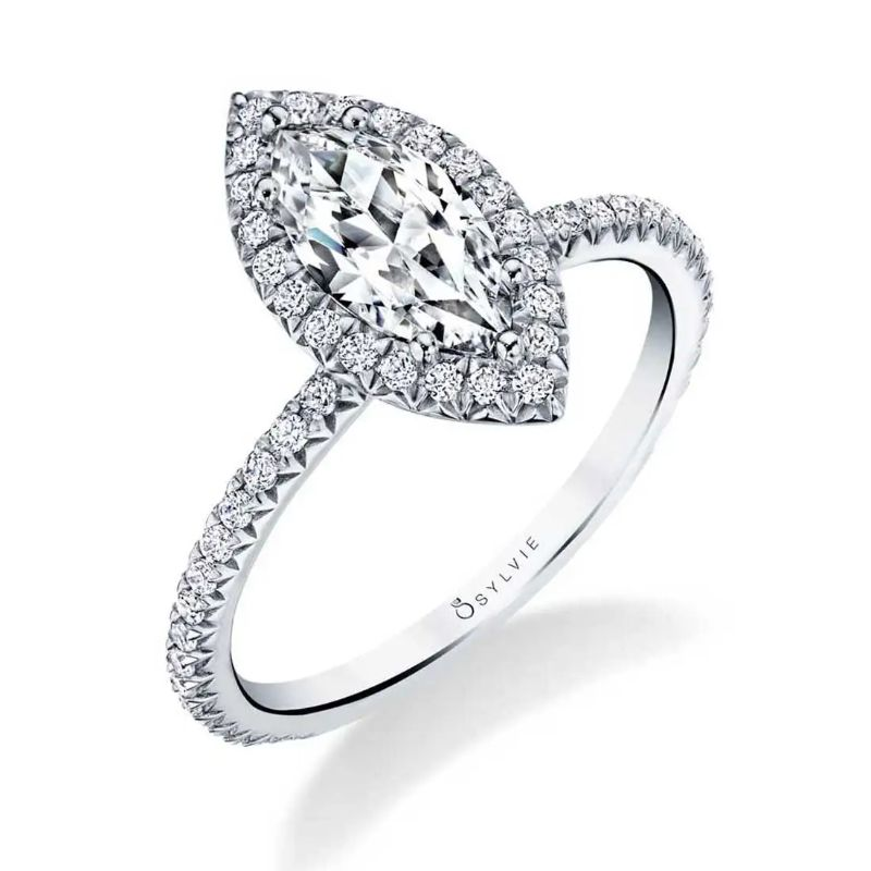 Marquise Halo Engagement Ring - Vivian