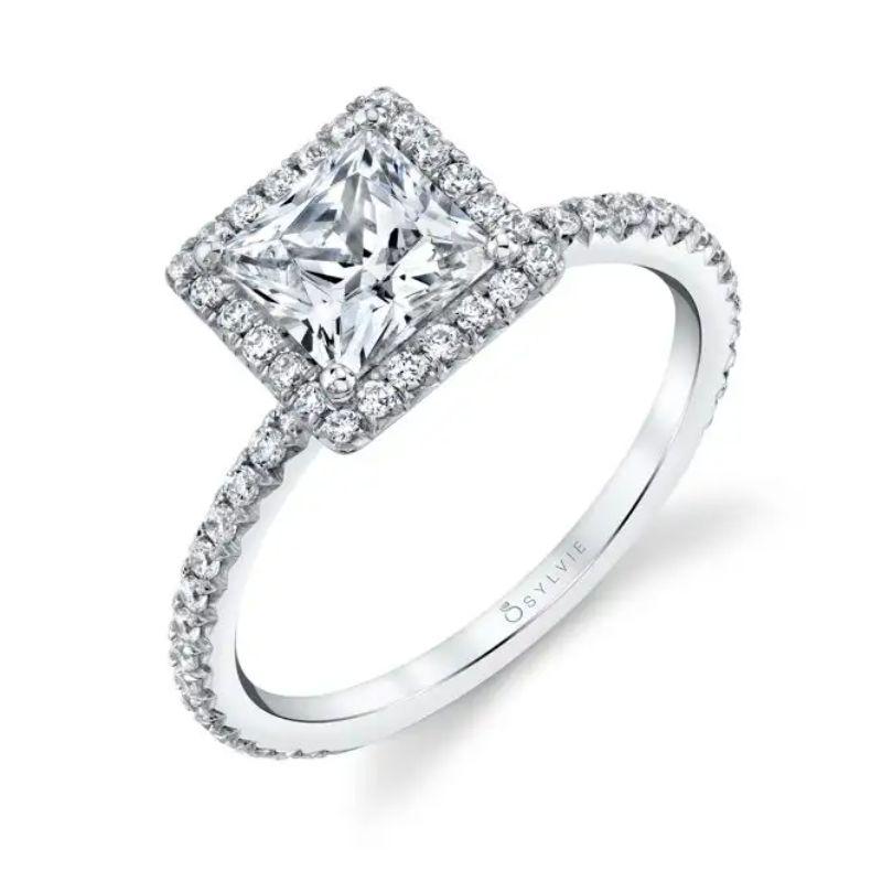 Princess Cut Halo Engagement Ring - Vivian