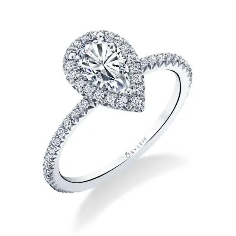Pear Shaped Halo Engagement Ring - Vivian