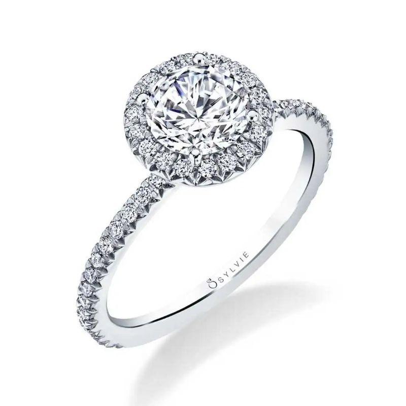 Classic Halo Engagement Ring - Vivian