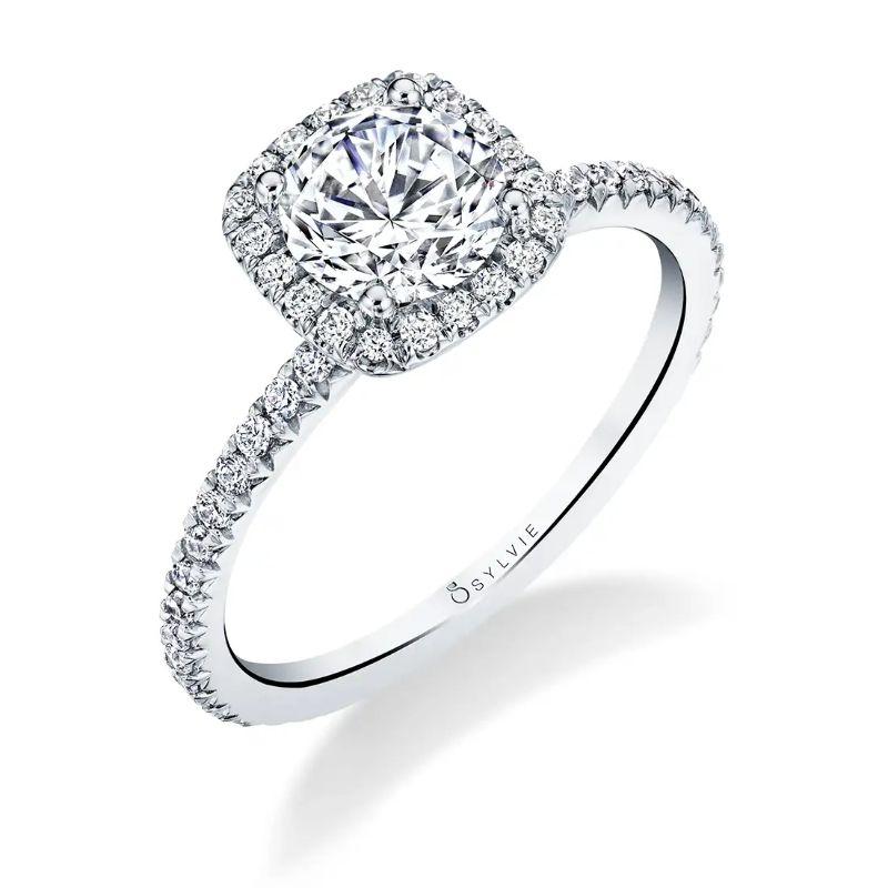 Cushion Halo Engagement Ring - Vivian