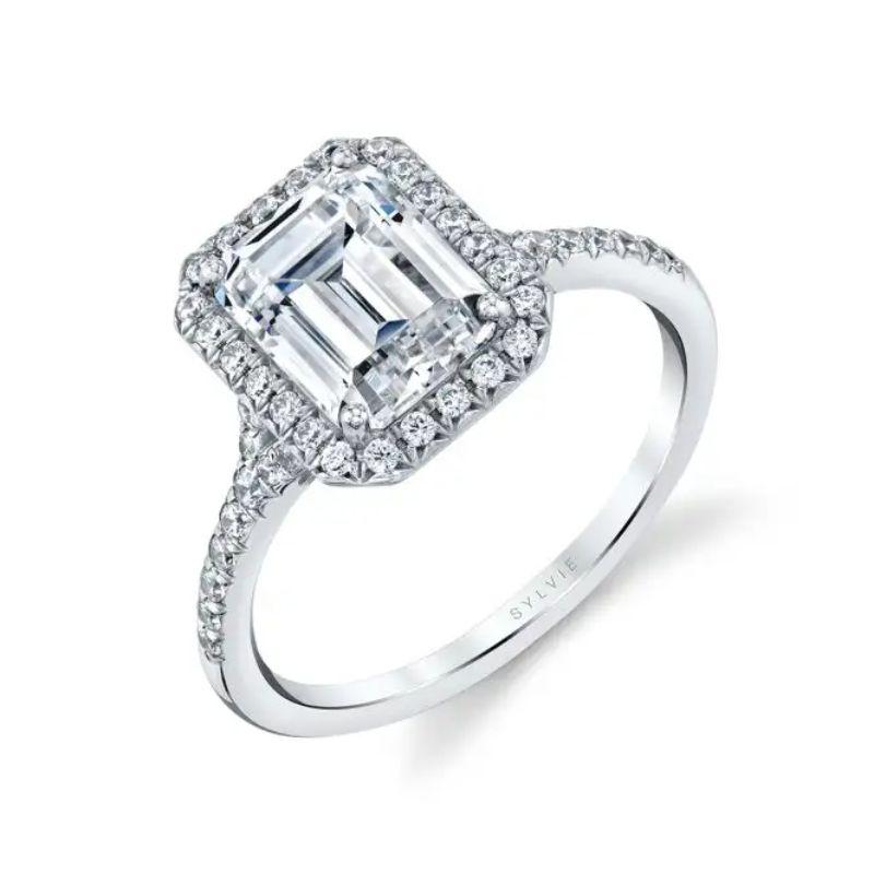 Emerald Cut Halo Engagement Ring - Alexandra