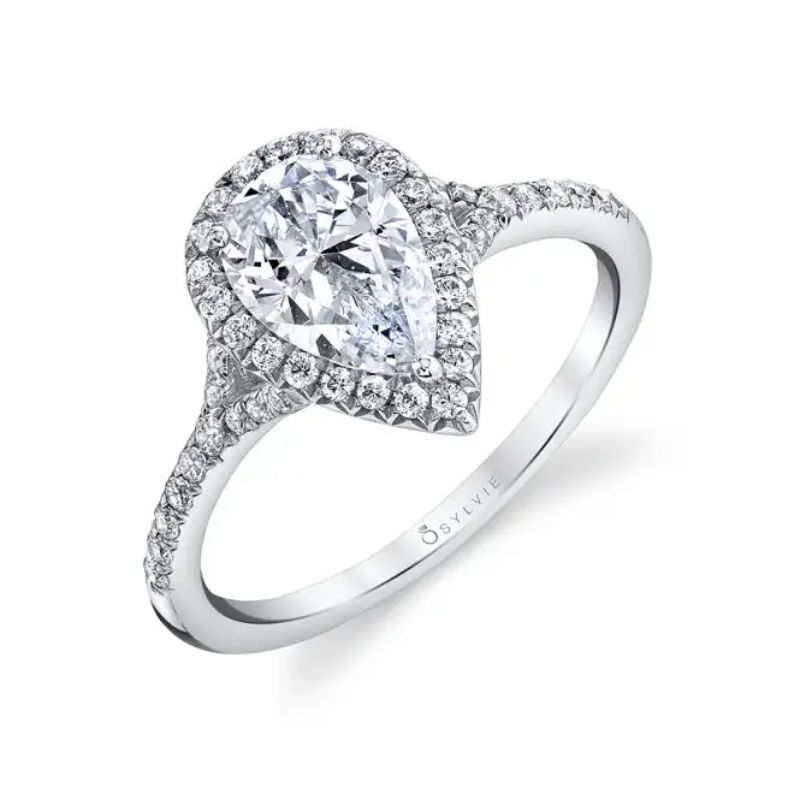 Pear Shaped Engagement Ring With Halo - Alexandra