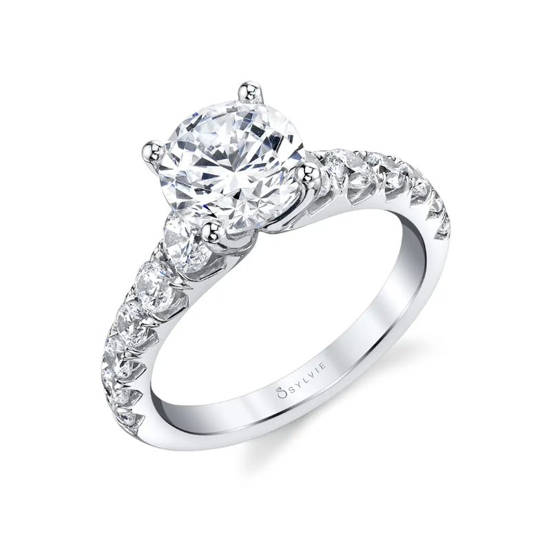 Wide Band Engagement Ring - Andrea