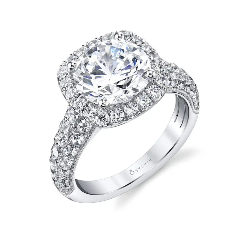 Cushion Halo Engagement Ring - Amara