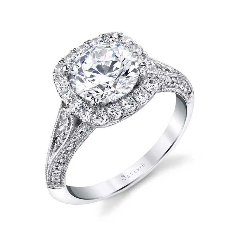 Unique Halo Engagement Ring - Naomi