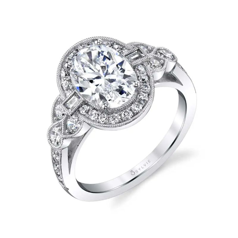 Oval Engagement Ring With Baguettes - Yvette