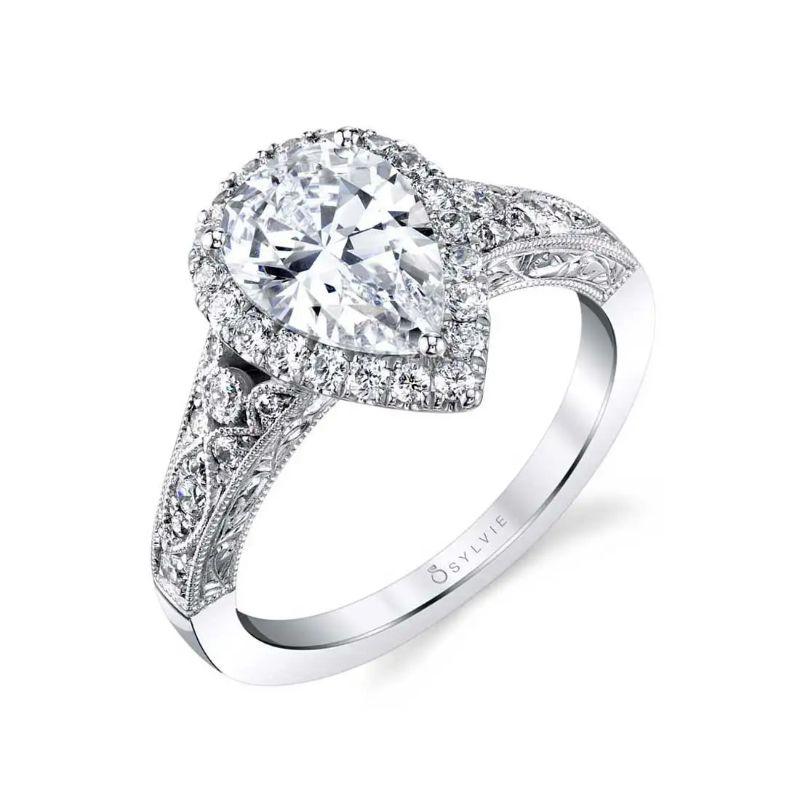 Vintage Pear Shaped Halo Engagement Ring - Seraphina