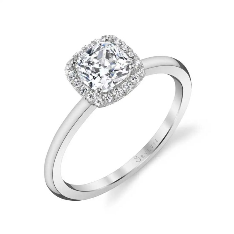 Classic Cushion Halo Engagement Ring - Elsie
