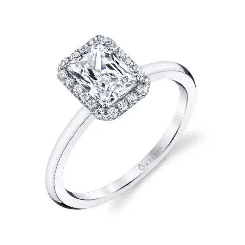 Classic Emerald Halo Engagement Ring - Elsie