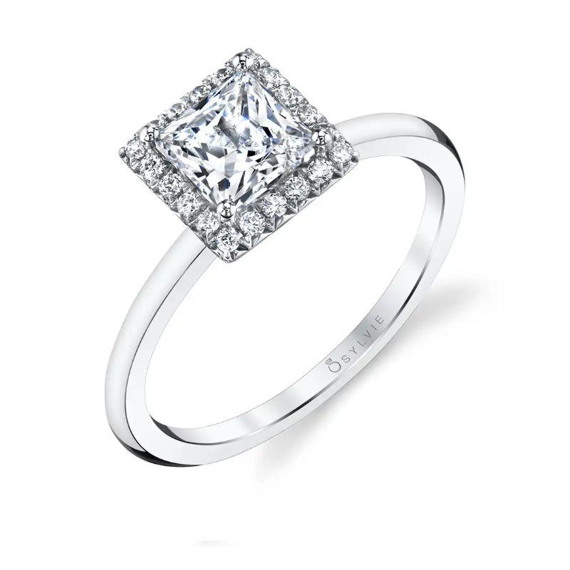 Classic Princess Halo Engagement Ring - Elsie