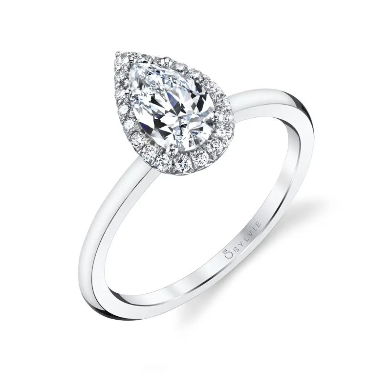Classic Pear Halo Engagement Ring - Elsie