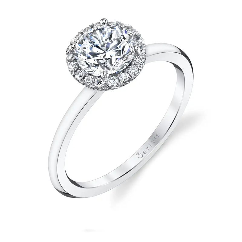 Classic Round Halo Engagement Ring - Elsie