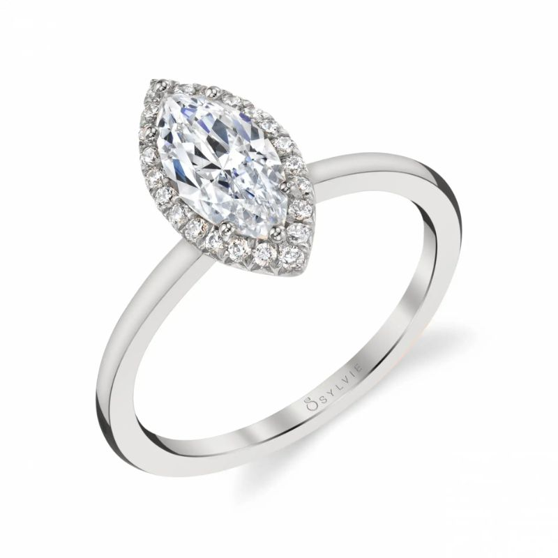Marquise Shaped Halo Engagement Ring - Elsie