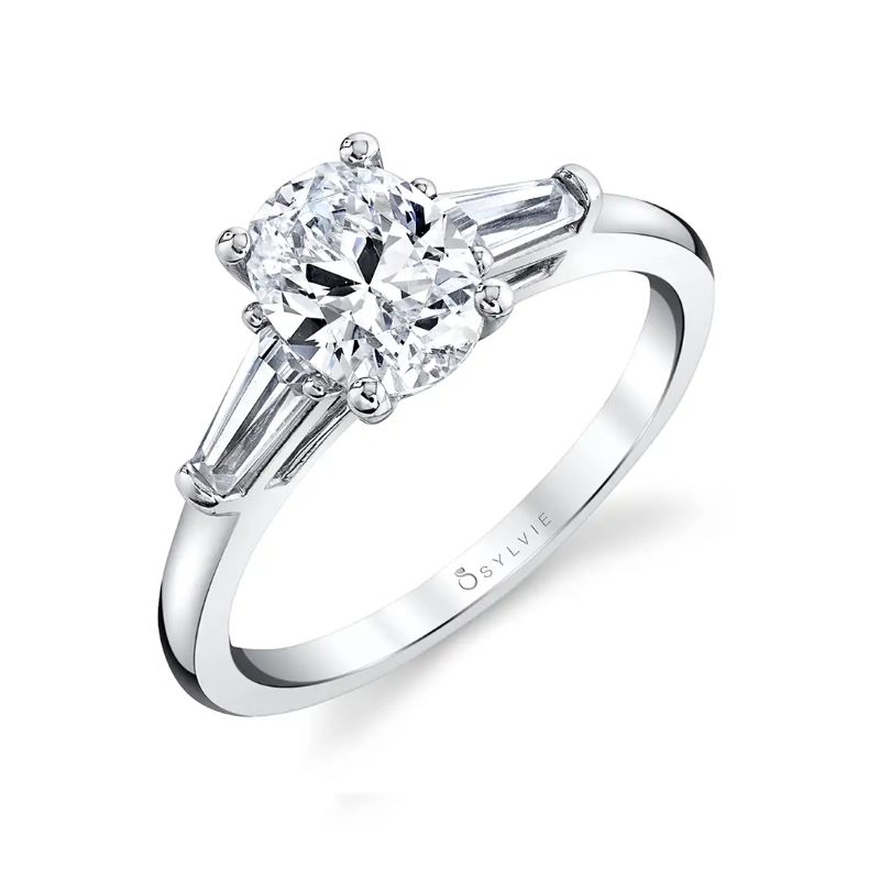 Three Stone Oval Engagement Ring With Baguette Diamonds - Nicolette