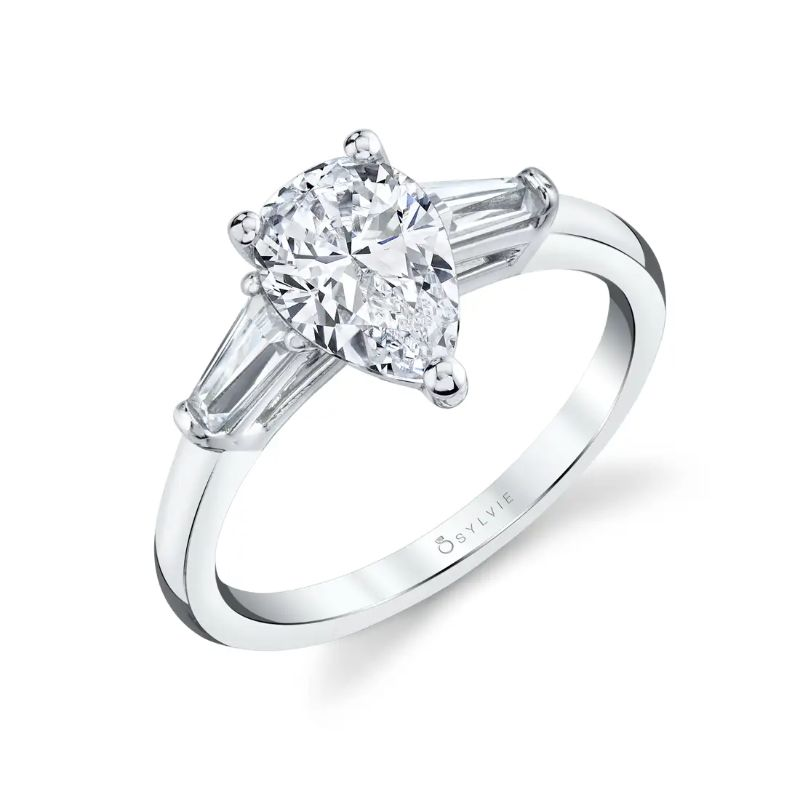 Pear Shaped Three Stone Engagement Ring With Baguette Diamonds - Nicolette