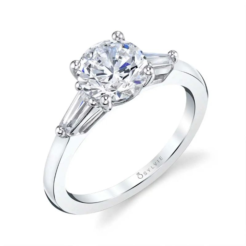 Three Stone Engagement Ring With Baguette Diamonds - Nicolette