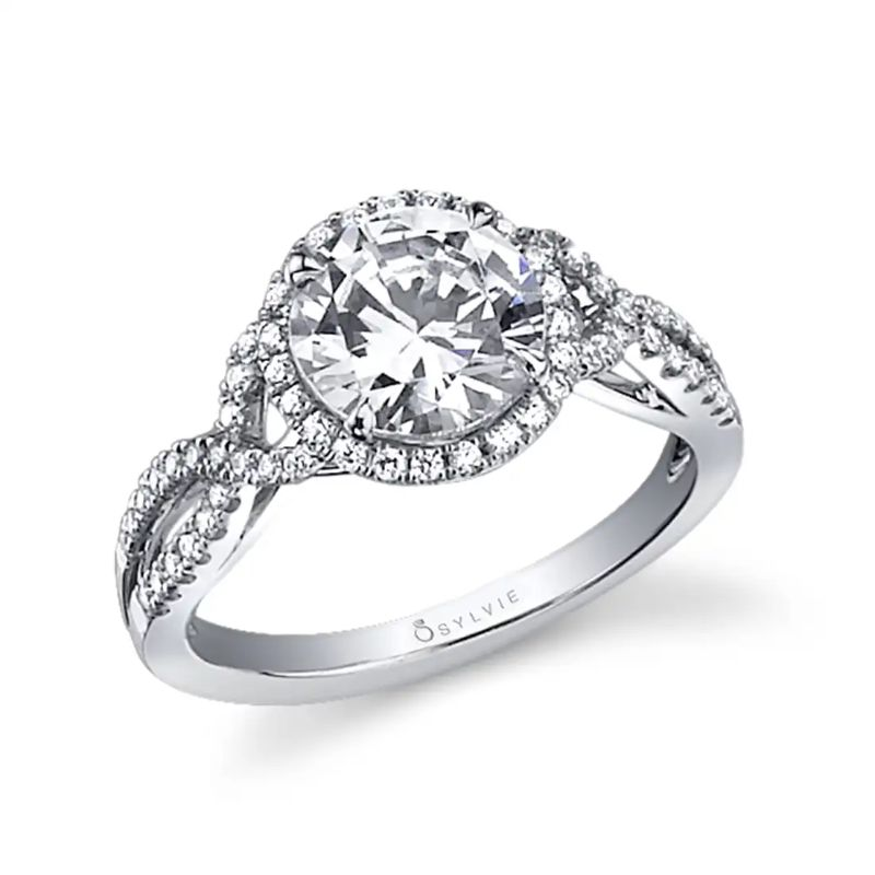 Spiral Engagement Ring With Halo - Jocelina